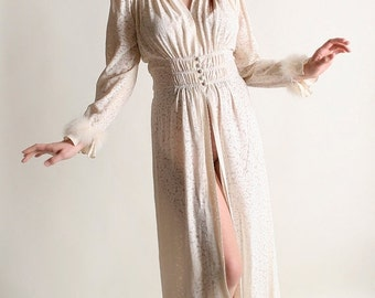 ON SALE Vintage 1930s Robe - Floral Burnout Marabou Feather Trimmed Nightgown - Medium