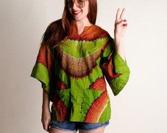 ON SALE Vintage 1970s Hippie Top - Neon Green and Fire Color Wing Sleeve Blouse - Medium Large