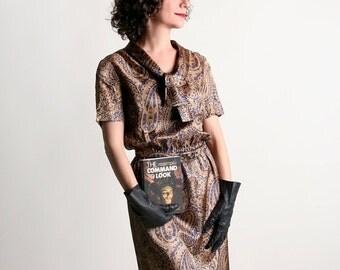 ON SALE Vintage 1960s Dress - Bronze Paisley Metallic Shimmer I. Magnin Dress - Small