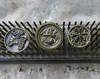 Antique Victorian Assorted Picture Buttons, 3 ... Dragonfly, Basket of Flowers, Grape Cluster ... Vintage Lot of Three