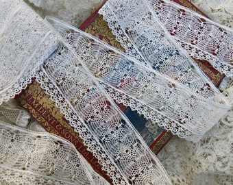 "Vintage ""Spider Web"" Lace Yardage... spiderweb lace edging trim for crazy quilting, CQ, fabric art books,collage, multi media - LY160103"