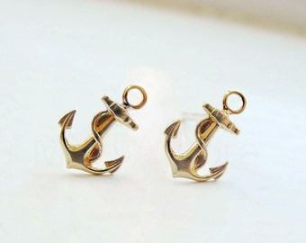 Anchor Studs,Tiny Earrings,Nautical Anchor Jewelry,Sea Navy Earrings,Gold Brass Studs,Hypoallergenic Sterling Silver Earrings (E255)