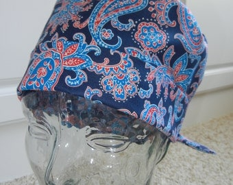 Tie Back Surgical Scrub Hat with Red Navy Blue Paisley