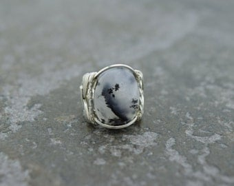 Sterling Silver Merlinite or Dendritic Agate Wire Wrapped Ring