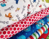 Dr Seuss fabric bundle, Celebrate Seuss fabric, Cat in the Hat fabric, Book fabric, Kids fabric, Cotton fabric by the yard, Quilt fabric