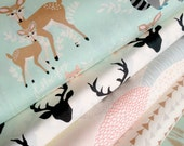 Hello Bear fabric bundle by Bonnie Christine for Art Gallery Fabrics, Deer fabric, Bundle of 5- You Choose the Cut, Free Shipping Available