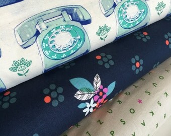 Cotton and Steel fabric bundle of 3, Phone fabric by Melody Miller, Hipster, Vintage Telephone,  Cotton Fabric by the Yard, Choose the Cut