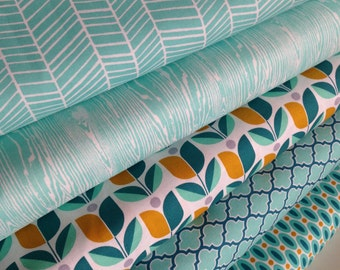 Aqua Fabric, Woodland Nursery, Herringbone, True Colors by Joel Dewberry, Nursery fabric, Wedding Fabric, Apparel fabric, Fabric Bundle of 5