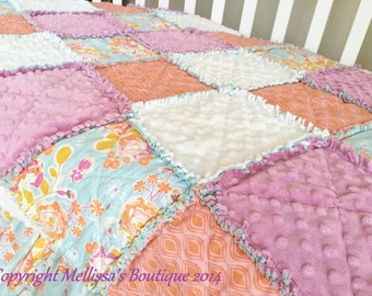 Designer Shabby Chic Lilac Aqua & Tangerine Boutique Baby Crib Travel Rag Quilt Photo Prop Bedding MADE TO ORDER