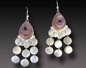 CHANDELIER Earrings LONG Sterling Silver Earrings Agua Nueva  Agate Dangle earrings