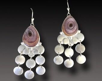 CHANDELIER Earrings LONG Sterling Silver Earrings Agua Nueva  Agate Dangle earrings