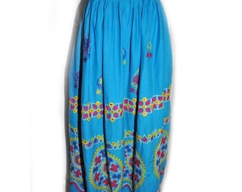 Vintage Ethnic Blue Cotton Embroidered Indian Skirt