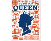 It's Good To Be Queen Tea Towel/Dish Towel (Orange&Blue)