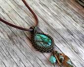 Beaded Turquoise Cabochon Beaded Bale Necklace  - Bead Weaving - Statement Necklace - Large Turquoise Pendant - Leather Rope - BOHO