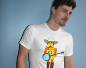 Robot - banjo - country western music - blue grass music - alt country - yellow - mens - musician - cowboy - country - novelty t-shirt