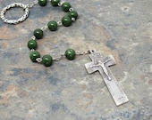 Irish Penal Chaplet of Green Jade, Gemstone Irish Penal Rosary, 1 Decade Chaplet, 1 Decade Rosary, Tenner Chaplet