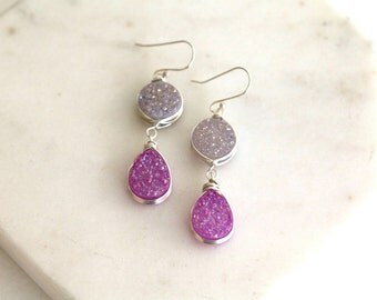 Druzy Earrings White and purple drops Provence lavender sterling silver Under 75 Vitrine