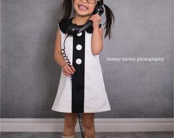 Retro 1960 Style Little White Dress girl children toddler