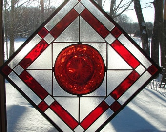 stained glass panel window plate Ruby Tribute to Avon Cape Cod