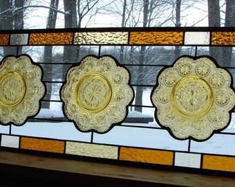 stained glass panel amber Daisy Flower transom