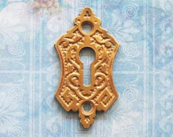 Brass Eastlake Keyhole Escutcheon Art Deco Antique Brass Skeleton Key Plate Furniture Hardware