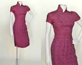 30% OFF 1960s Mandarin Collar Dress --- Vintage Hot Pink Floral Dress