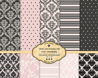 Pink and Black  Digital Paper pack for invites, card making, digital scrapbooking - Fifi