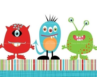Monster trio clip art and papers for invites, scrapbooking