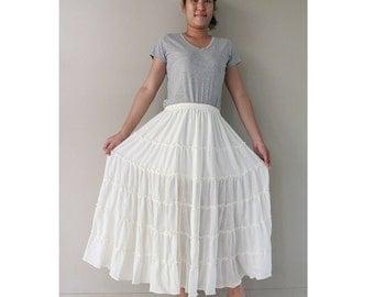 Custom Made Cotton Boho Hippie Long Elastic Waist Ruffle Skirt (H)