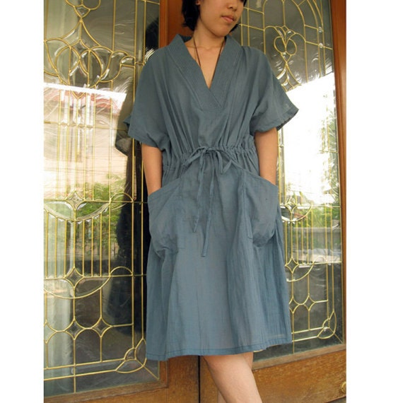 Custom Made Silk Blue Cotton  Short  Kimono  Dress Boho   Blouse  S-XL (BK 1)