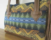 RESERVED for  jopelsmith Handbag Purse Soft Brown Leather Wool Southwest Style