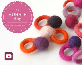 DIY - Video workshop seamless felted ring - Bubble ring - Intermediate level - 3 videos - Instant download