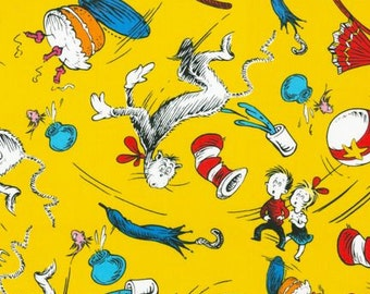 By the Yard Dr. Seuss The Cat In The Hat Celebration ADE-10797-203 Fabric Robert Kaufman Dr Seuss
