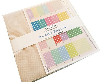 "Lecien Japanese COLOR BASICS PASTEL Origami Squares Precut 10"" Fabric Quilting Cotton Layer Cake Polka Dots"