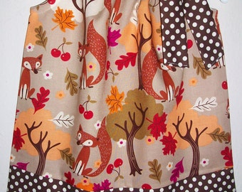 Pillowcase Dress Fall Fox Forest Autumn Leaves Cherries Woodland Party brown cream dot baby toddler girl