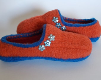 Boiled,  Felted Wool Moccasins,House Shoes, Slippers, US Women Size 6