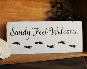 Beach Sign Sandy Feet Welcome Plaque Coastal Sign, Painted Wood, Beach Cottage