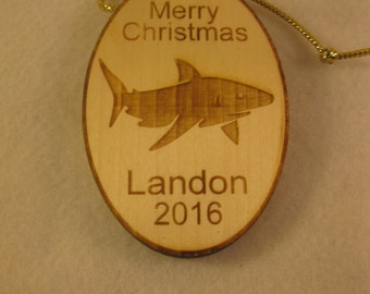 Personalized wooden christmas shark ornament or gift tag