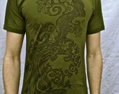 Tree Of Life T-shirt Olive Green Butterfly Bird Cotton Tshirt S L XL 2X