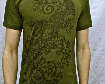 Tree Of Life T-shirt Olive Green Butterfly Bird Cotton Tshirt Small Only