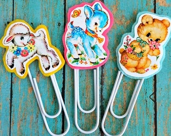 Vintage Spring Animals Jumbo Paperclip Bookmark -- Set of 3