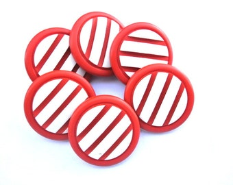 6 Vintage plastic buttons 22mm red to orange with white stripes