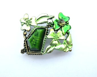 BEAD, metal jewel bead  with gren trim and rhinestones with flowers retro vintage style
