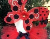Baby Girl Ladybug Costume - Ladybug Tutu Costume - Tutu, Antenna Headband, Wings and Leg Warmers