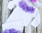 Baby Girl Coming Home Outfit, Hospital Gown, Bodysuit, lavender, Chiffon Flower Headband