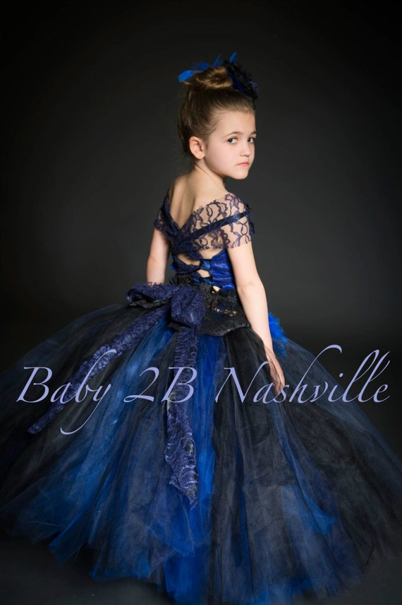 Blue Flower Girl Dress Royal lace Dress Tulle Dress Wedding Dress Birthday Dress Toddler Tutu Dress Girls Dress