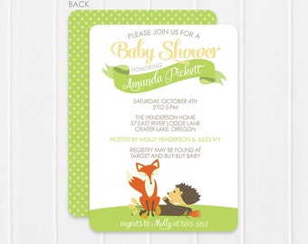 Woodland Creatures Baby Shower Invitation - Fox and Hedgehog - Nature baby shower by Swanky Press