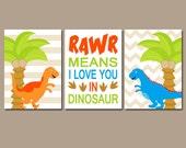 DINOSAUR Wall Art, Baby Boy DINO Nursery Artwork, Big Boy Bedroom Pictures, RAWR Means I Love You,Dino Theme Decor,Set of 3 Canvas or Prints