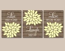 Live Laugh Love Wall Art, Bedroom Canvas or Prints Bathroom Artwork, Bedroom Pictures, Flower Wall Art, Flower Burst Dahlia Set of 3 Art