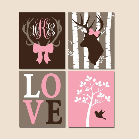 Girl Deer Nursery Wall Art Canvas Or Prints Woodland Theme